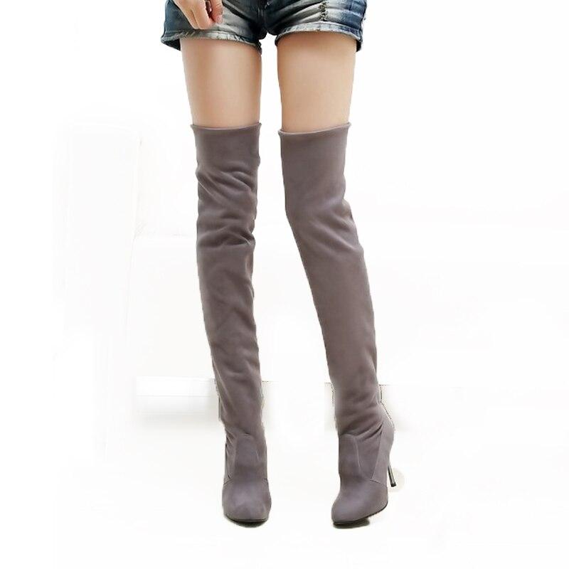 Hot koop fashion lange laarzen voor vrouwen nubuck leer sexy - Damesschoenen - Foto 2
