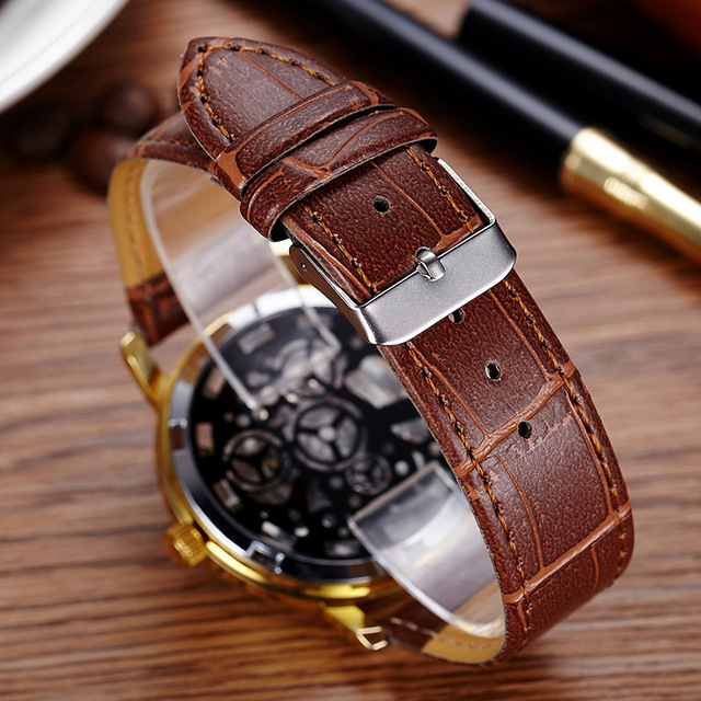 Fashion Casual Leather Men Skeleton Watch Women Dress Wristwatch Steel Quartz Hollow Watches Men PINBO-85