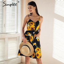 Simplee Strap v neck summer dress women Sunflower print backless casual dress vestidos Smocking high waist midi dress female