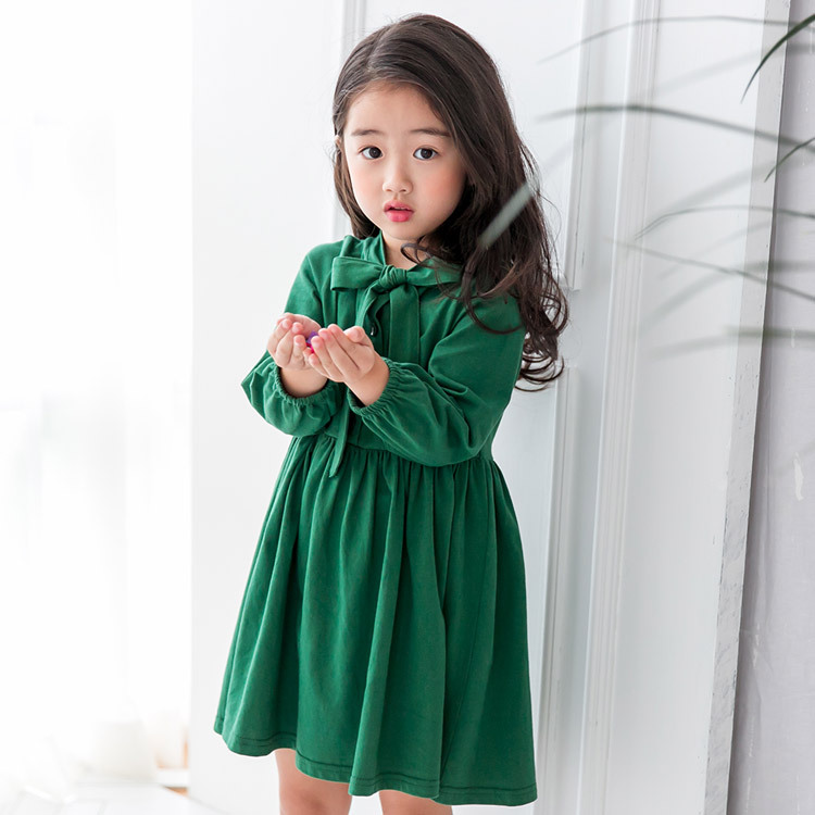 Pretty Girls Dress Lovely Vintage Green Long Sleeve Dress with Big Bow Tie Kids Party Dress Baby Girl Clothes Princess Dresses pretty girls dress lovely floral print long sleeve flower kids dress baby girl clothes princess dresses 4 14y