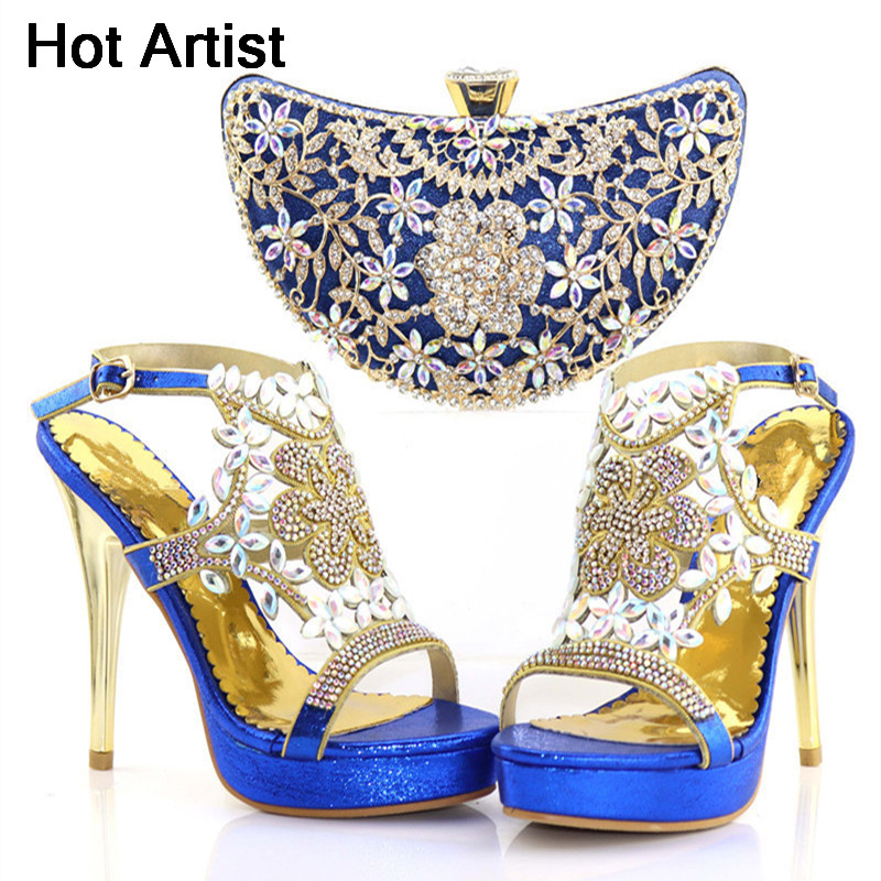 Hot Artist New Style African Blue Shoe And Bag Set For Party In Women Matching Shoes And Bags for Weddings Italian Shoes TX-64