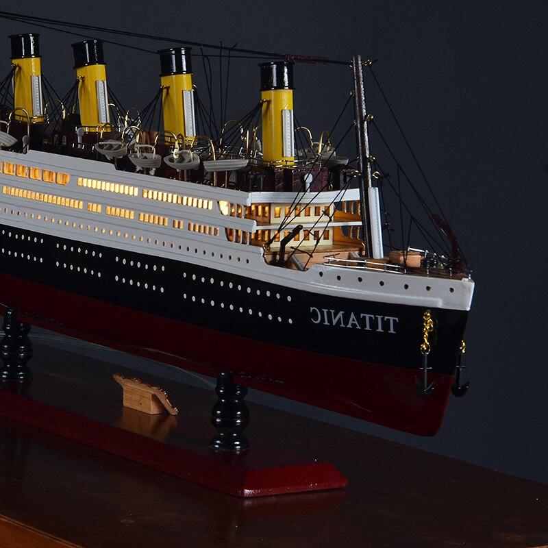 Maquettes de navires en bois Titanic en bois Kits de maquettes de navires en bois à del 55cm maquettes de bateaux à l'échelle Voyager modèles d'outils de modélisation jouet de bricolage passe temps - 4