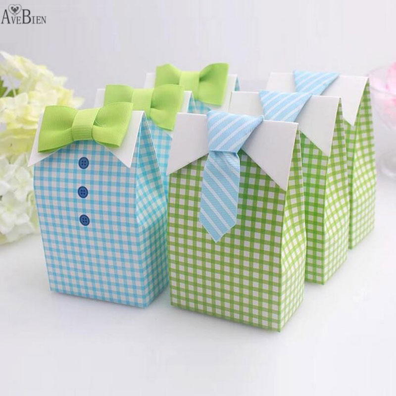 50 Pcs My Little Man Blue  Bow Green Tie Birthday First Communion Boy Baby Shower Candy Bag Wedding Favors Candy Box Gift Bags