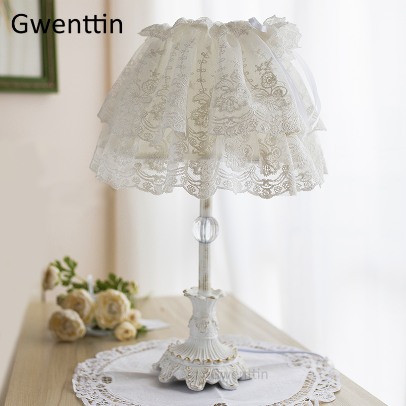 Nordic Lace Fabric Table Lamps Princess Girl Led Stand Desk Light for Home Wedding Decor Bedroom Bedside Lamp Lighting FixturesNordic Lace Fabric Table Lamps Princess Girl Led Stand Desk Light for Home Wedding Decor Bedroom Bedside Lamp Lighting Fixtures