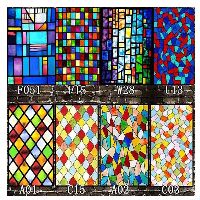 Self-adhesive window decorative films Church Static Cling Frosted stained glass film Custom PVC home foil door sticker