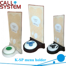 10 Uds. K SP soporte acrílico para menú, apto para sistema de llamada, botón de campana