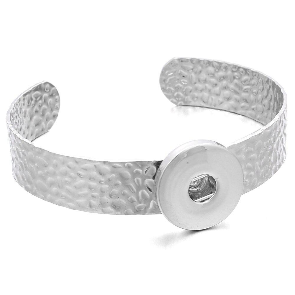 New 18mm Snap Jewelry Silver Bracelet High Quality Copper Snap Button Bracelet Bangles Simple Cuff Bracelet for Men Women