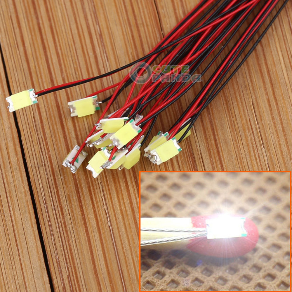 T1206W 20pcs Pre-soldered Micro Litz Wired Leads Bright White SMD Led 1206 NEW