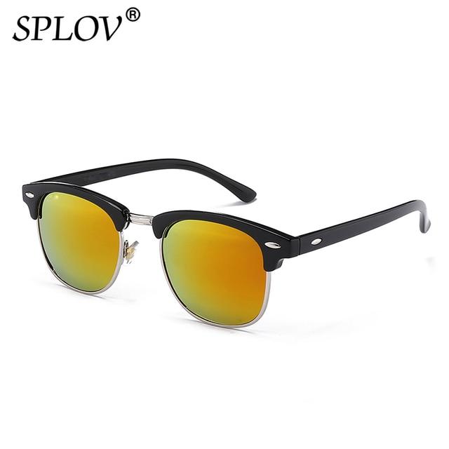 ff9b7e83ab79e SPLOV Semi Rimless Polarized Sunglasses Men Women Brand Designer Classic Half  Frame Sun Glasses Retro Rivet Oculos De Sol UV400