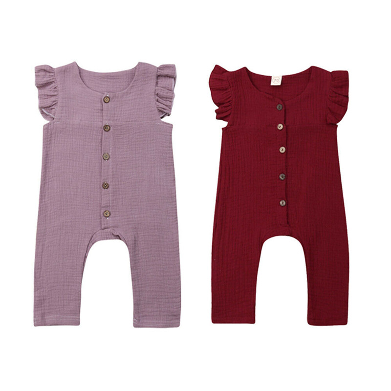 Baby Girl Sleeveless   Romper   Casual Newborn Summer Ruffles Jumpsuit Baby Girl Button O-Neck Sunsuits Solid Color 0-24M