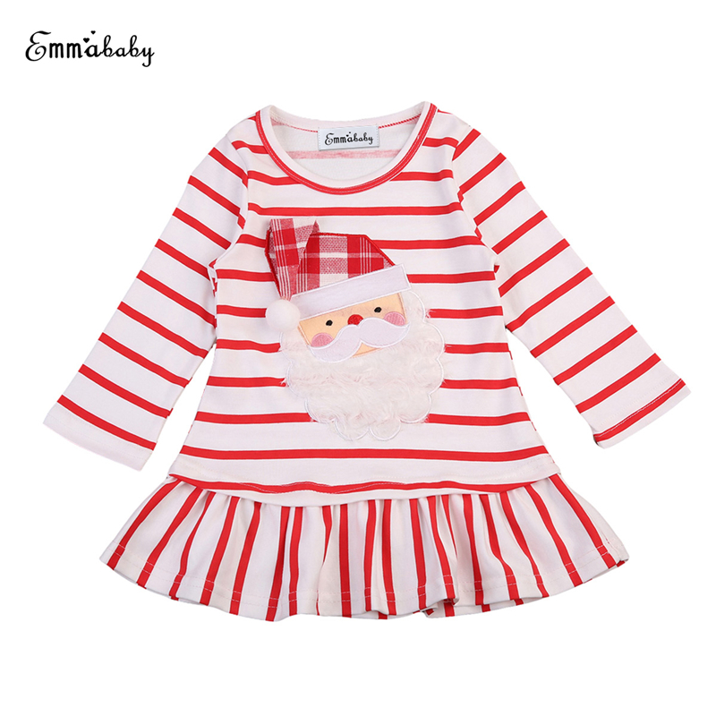 Christmas Girl Dreses Long Sleeve Santa Claus Dress Stripe Casual Mini Dresses Xmas Kids Dress Forl Girls 2017 New Vestidos 0-6Y