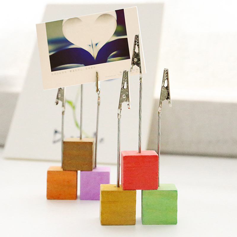 Cute Colorful Metal Paper Photo Card Clips Memo Picture Note Card Desk Paper Photo Clip Holder Table Stand Place Office  Favor