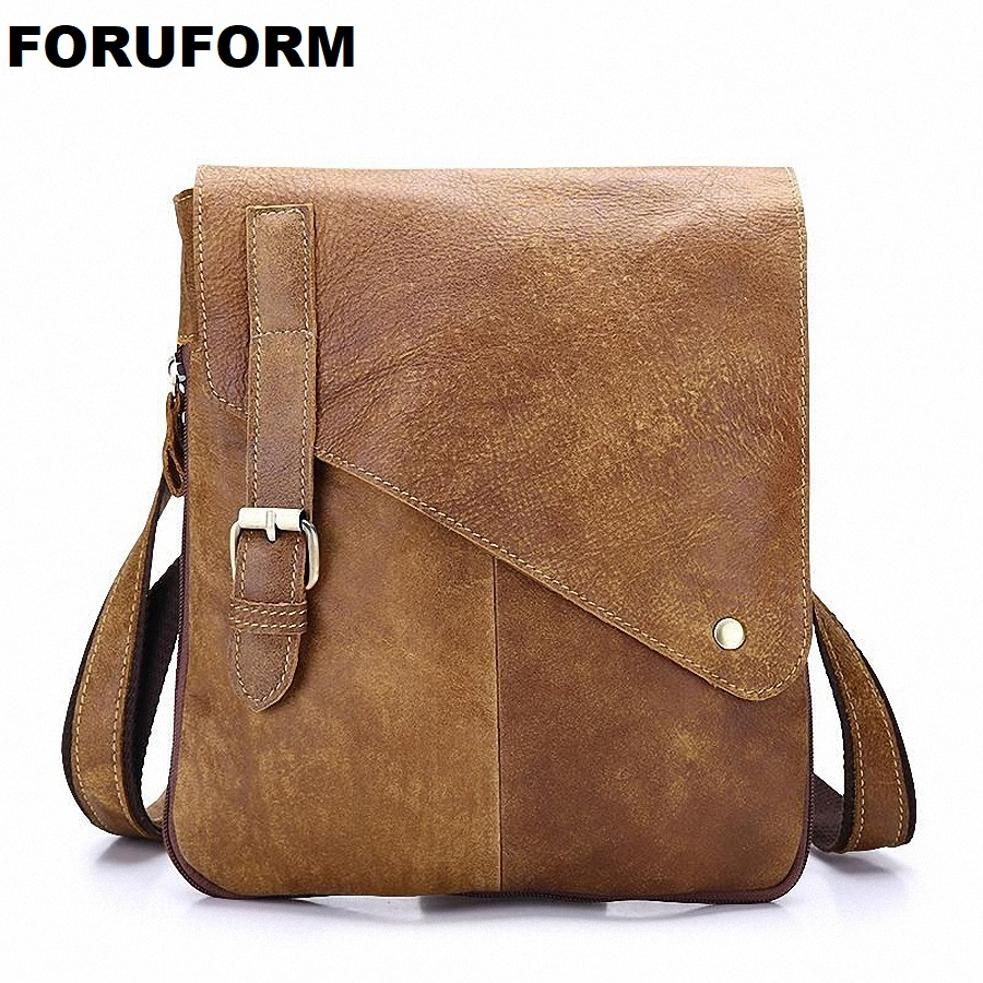 Vintage 100% Top Genuine Leather Men's Cowskin Bag Designer Casual Crossbody Bag Men Business Messenger Bags For Gift LI-1420