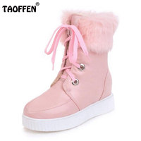 TAOFFEN 4 Colors Size 34 43 Women Thick Bottom Snow Boots Lace Up Inside Heel Boots