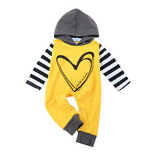 Autumn New Baby Rompers Infant Long-sleeved Hooded Jumpsuits Cotton Striped Clothes For Newborn Girls And Boys