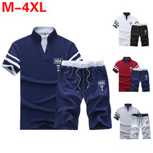 Summer Polo Shirt Mens Short Sleeve + Shorts Suit Male Solid Jersey Breathable 2PC Top Set Fitness Sportsuits Men