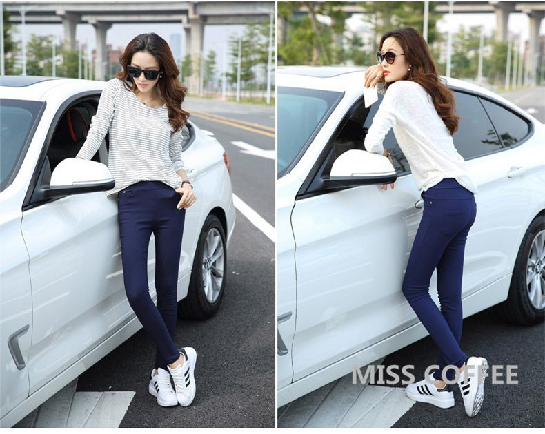 Free Shipping 17 New Autumn Fashion Pencil Jeans Woman Candy Colored Mid Waist Full Length Zipper Slim Fit Skinny Women Pants 12