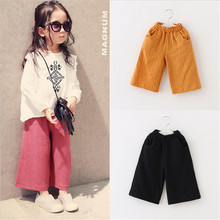 1-5T Kids Baby Girls Toddlers Cotton Pants Trousers Wide Leg Pants Solid Fashion Casual Pants Soft Children Clothes