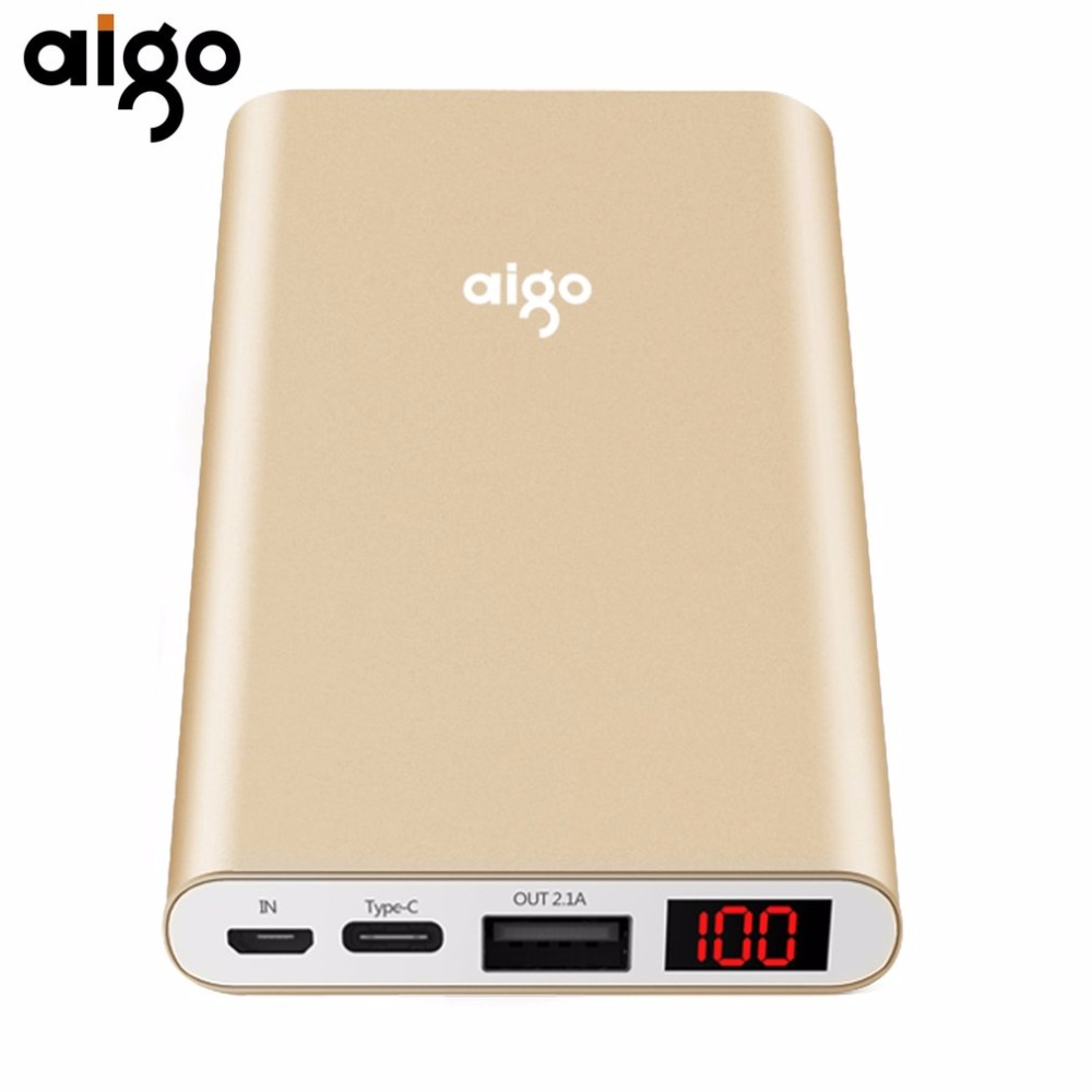 Aigo N1 LCD Display Mobile Backup Bank 10000MAH Capacity Power Bank Charger Supply For Smartphones Tablet