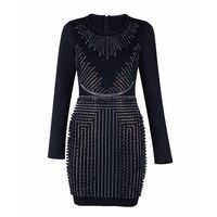 2017 Newest Autumn Dress Women Celebrity Party Black Long Sleeve O Neck Beading Sexy Night Out