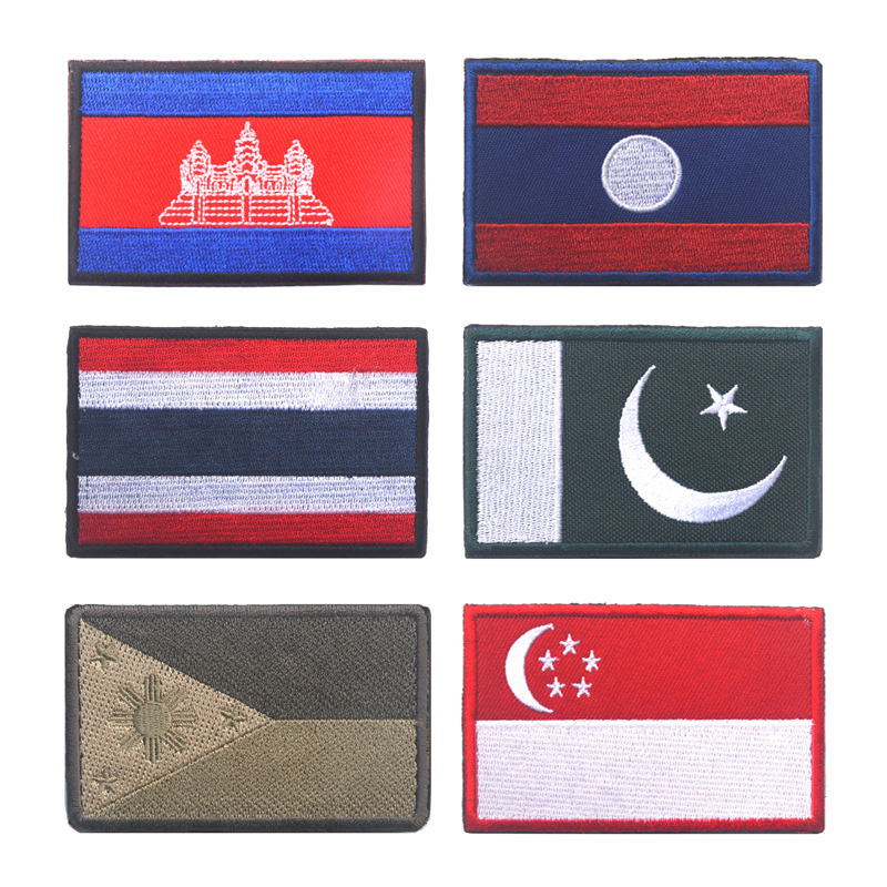 Thailand-temple National Flag Iron on Patches Embroidered Applique Badge Emblem
