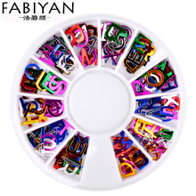 Nail Art Wheel Colorful Alphabet Letter PVC Acrylic Sequins Decoration 3D Tips Stud DIY Design Jewelry Accessories Manicure Tool