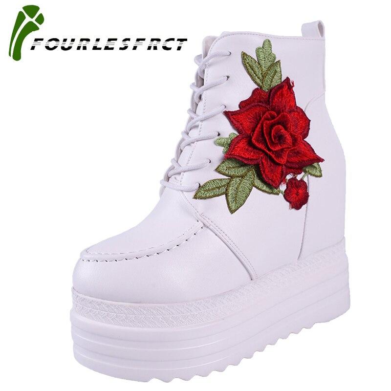 2017 New Women Boots Vintage Lace Up High Heel Wedge Platform Women Shoes Leisure Girls Woman Footwear keep warm shoes woman цены онлайн