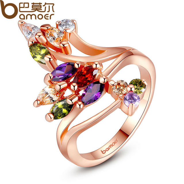 BAMOER High Quality Gold Color Finger Ring for Women Party with AAA Colorful Cub