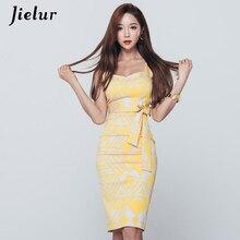 Jielur женские платье на тонких бретельках, с поясом, с рисунком узкие летние сексуальные платья женский желтый 2020 с v-образным вырезом платье н...