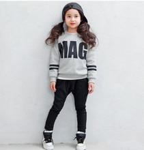 Акция! хлопок дети костюмы Корейской версии новой детской одежды девушки мультфильм печатных куртка + брюки 2-х Частей