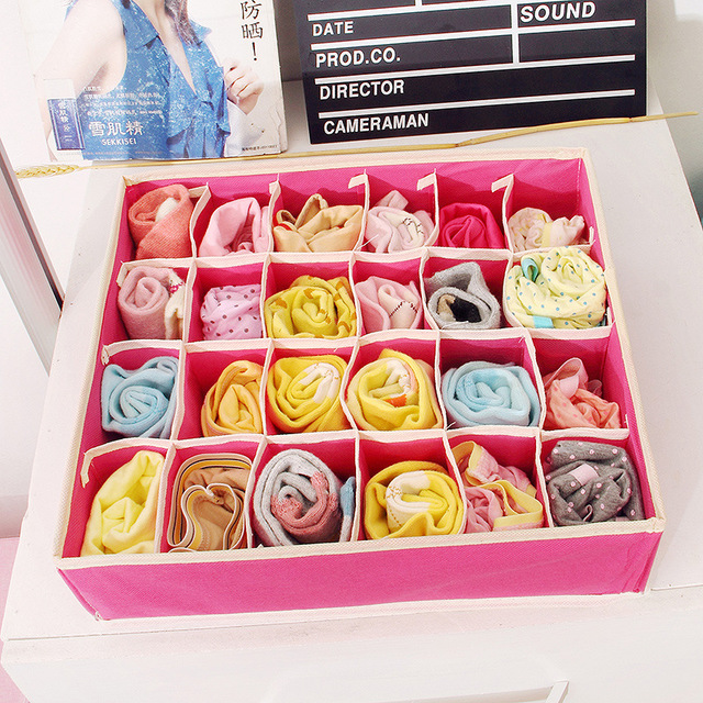 4PCS Underwear Bra Organizer Storage Box 2 Colors Beige/Rose Drawer Closet Organizers Boxes For Underwear Scarfs Socks Bra
