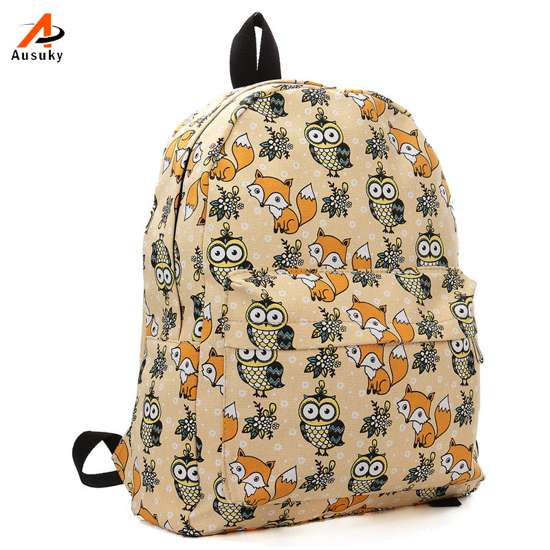 Ausuky Brand Kople  Cartoon Owl Fox Girl/Boy Student Shoulder Bag Fashion Women Travel Satchel Canvas School Backpack 45