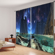 3D Curtains Sky Printing Blackout Curtains Living Room