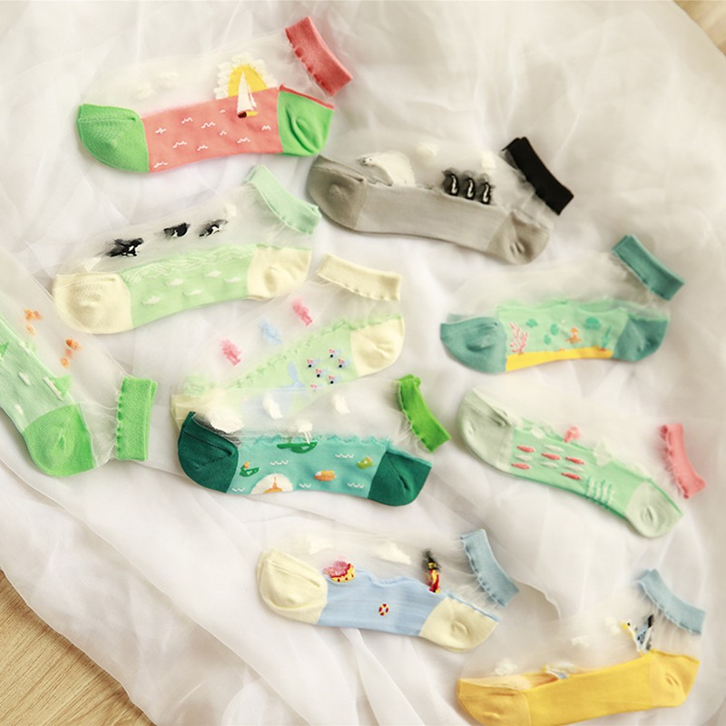 SP&CITY Summer Thin Transparent Women Short Socks Colored Cute Cartoon Socks Funny Female Ankle Socks Hollow Out Breathable Sox