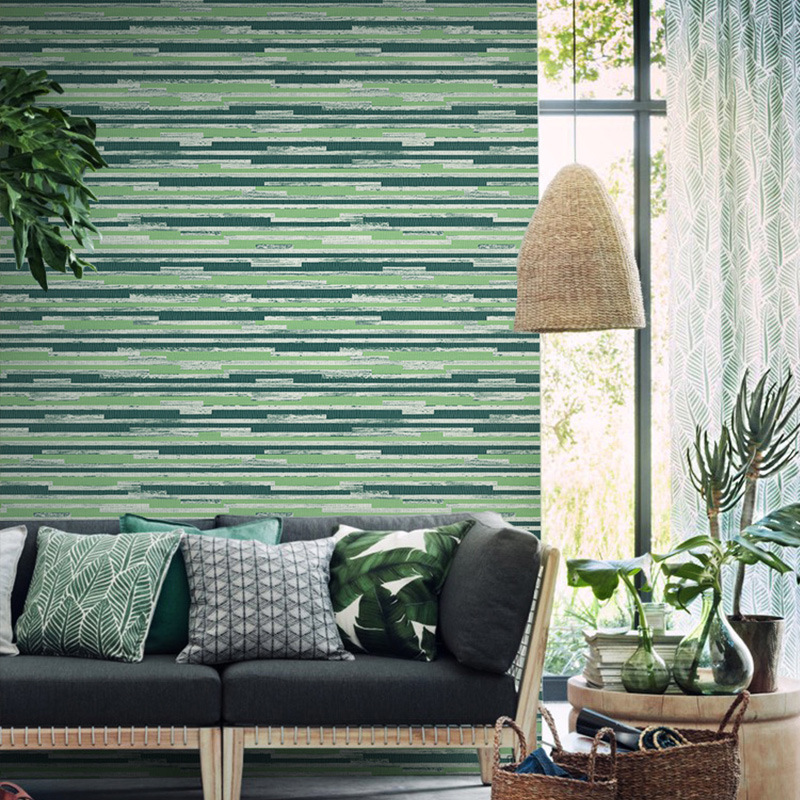 Modern Plain Solid Color Bamboo Straw Textured Wallpapers Horizontal Stripped Grasscloth Washable Vinyl Wall Paper Rolls