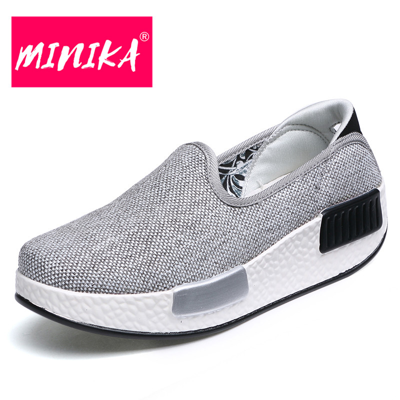 MINIKA Slip On Women Loafers Shoes Multicolor Optional Platform Casual Shoes Women Spring & Autumn Durable Women Flat Shoes minika breathable mesh lace shoes women thick bottom shallow mouth women casual shoes slip on flat shoes women high quality