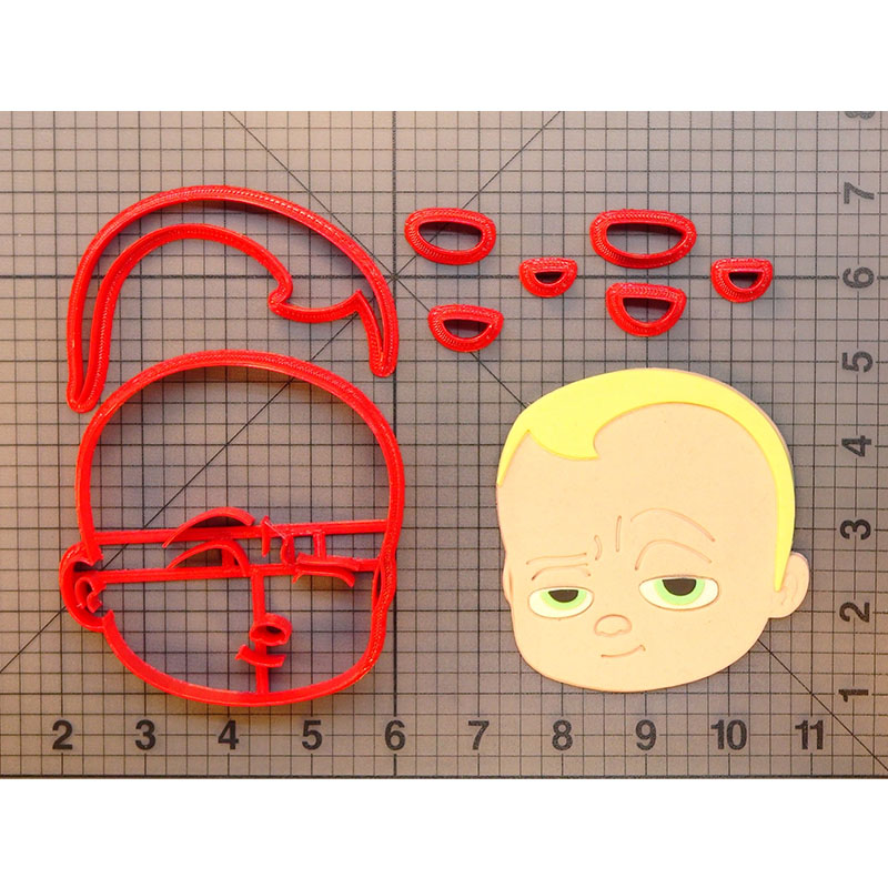 Lovely Boss Baby Face Cookie Cutter Fondant Cupcake Top Molds Made 3D Printed Cookie Cake Decorating Tools cortadores de fondant