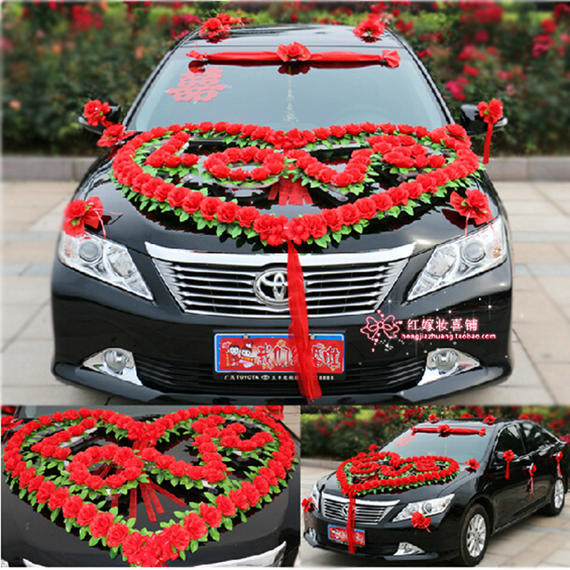 Artificial flowers,new style,wedding car decoration set, heart \