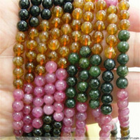5mm Bracelet Necklace Genuine Colorful Tourmaline Natural Stone Crystal Quartz Loose Long Chain Fashion Jewelry DIY Round Beads