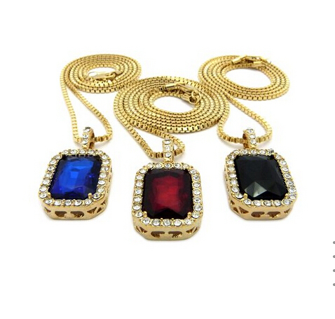 Micro Square Red & Black & Blue Necklace Pendant 2.4mm 24 5