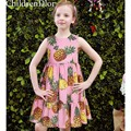 Princesa Rosa Das Meninas Vestido de Algodão com Abacaxi Impresso 2017 Roupas de Marca Meninas Traje para As Crianças Vestidos de Festa com vestido de Baile