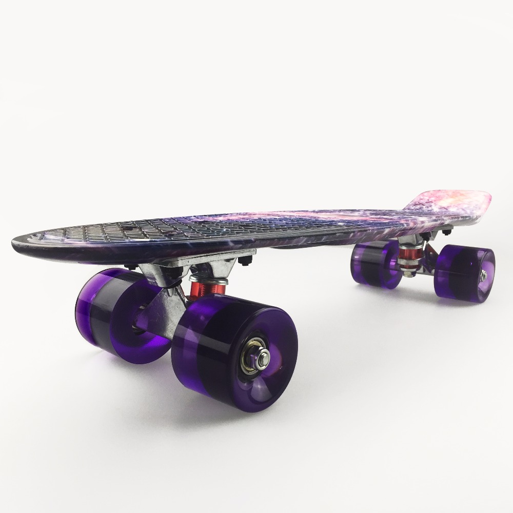 "Image 2 - 22 inch Kids Mini Fish Skateboard Purple color mixed universal Plastic Cruiser Board Completes Nologo 22"" Banana Skateboard-in Skate Board from Sports & Entertainment"