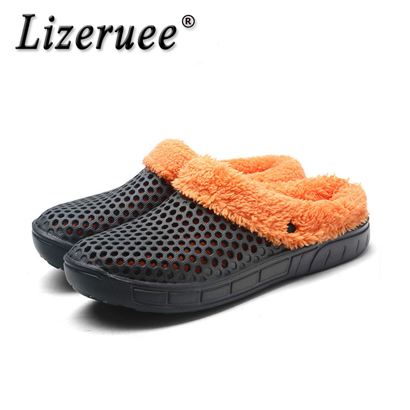 Lizeruee Casual Crocus Clogs With Fur Winter Shoes For Men Soft Plush Slippers Fleece Lining Home Floor Warm Slipper Men Shoes