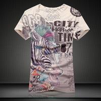 2017 New Summer Vintage Short Sleeve V Neck 3d Horse Animal Printed T Shirt Men Fashion