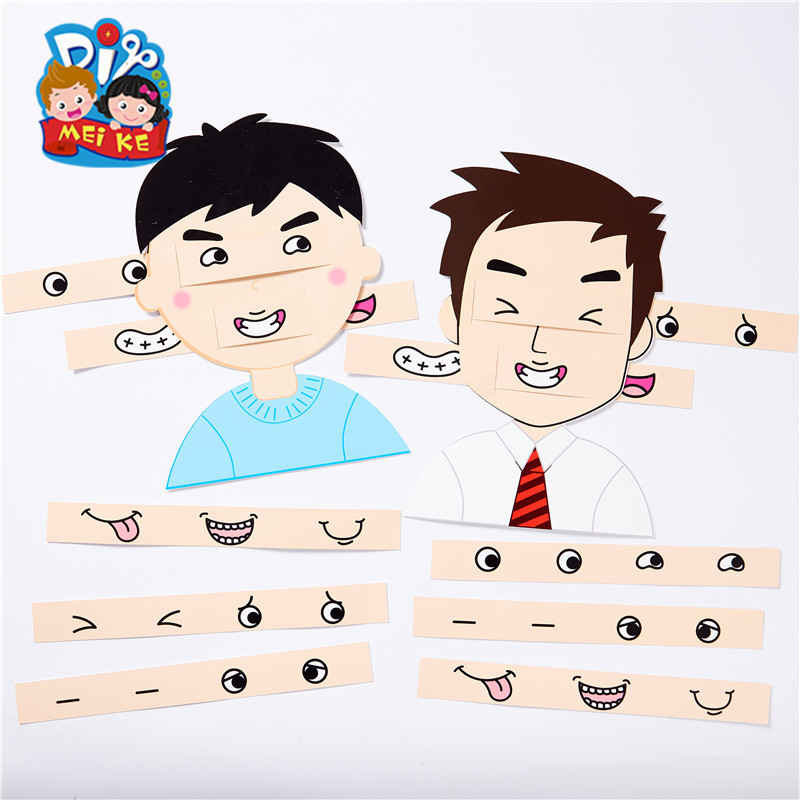 Children DIY Daddy Expression Design Toys Handmade Paper Board Craft Toys Kids Creative Puzzle Toys