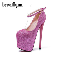BIG SIZE 43.Women Pumps High Heels 20cm Bling Bling Round Toe Sexy Pumps Platform super High Heels Wedding Party Shoes NN 93