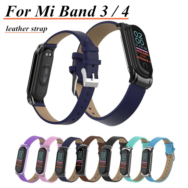 Colorful Leather Mi Band 4 3 Metal Strap For Xiaomi Mi Band 4 3 PU Stainless Bracelet MiBand 4 3 Wristbands Replacement Straps