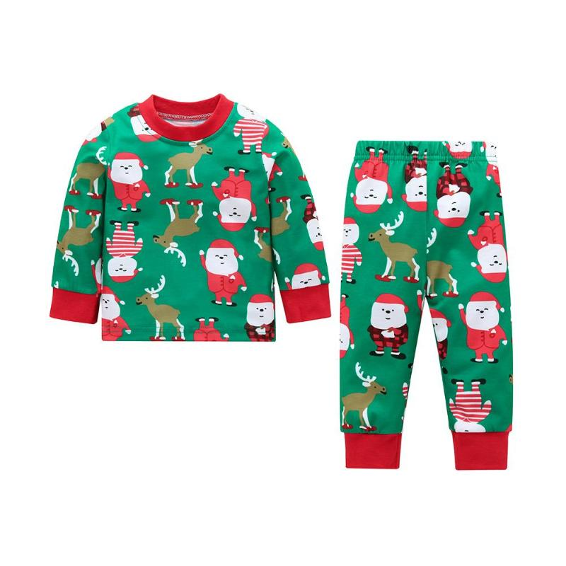 2019 Fashion 2pcs/set Newborn Baby O-neck T-shirt Elastic Waist Pants Christmas Clothes Set Elk Cotton Infant Home Outfits Suit Tops Trousers