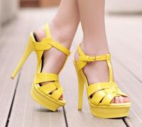 Summer Hot Sale Woman Candy Color Patent Leather T Strap Buckle High Platform 14CM High Heel