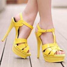 summer hot sale woman candy color patent leather T
